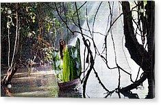 Misty Lake Lady Acrylic Print