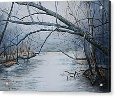 Misty Morning On The Red River Acrylic Print by Patsy Sharpe