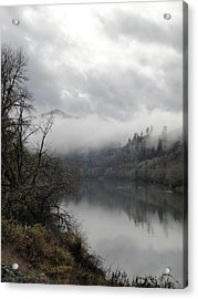 Misty River Drive Along The Umpqua Acrylic Print by Alison Foster