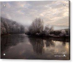 Misty Sunset Acrylic Print by Angel Ciesniarska