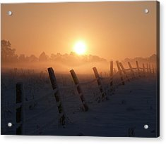 Misty Sunset Acrylic Print by Cat Shatwell