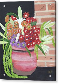 Acrylic Print featuring the painting Mixed Flowers In Orange Crock by Margaret Harmon