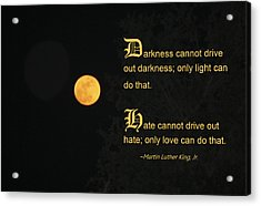 Mlk And A Yellow Moon Acrylic Print by Andrea  OConnell