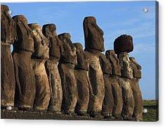 Moai Along The Coast Of Easter Island Acrylic Print by Stephen Alvarez