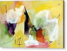 Modern Art With Yellow Black Red And Fanciful Clouds Acrylic Print by Betty Pieper