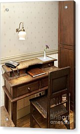 Modern Phone On An Old Fashioned Desk Acrylic Print by Jaak Nilson