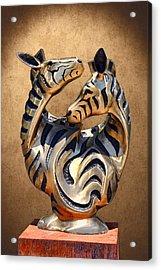 Modern Zebra Sculpture Acrylic Print by Linda Phelps