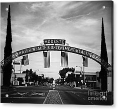 Modesto Arch With Flags Acrylic Print