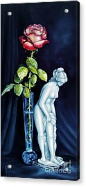 Moms Rose Dads Statue Acrylic Print by Gilee Barton
