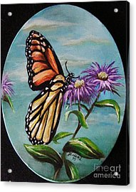 Acrylic Print featuring the painting Monarch And Aster by Karen  Ferrand Carroll