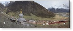 Monastery Buildings In Mountain Valley Acrylic Print by Phil Borges