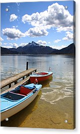 Mondsee Lake Boats Acrylic Print by Lauri Novak