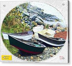 Acrylic Print featuring the digital art Monhegan Dinghies by Richard Stevens