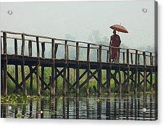 Monk Crosses A Bridge On The Eastern Shore Town Acrylic Print by David Greedy