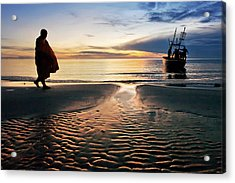 Monk Walk For Food On The Beach Acrylic Print by Arthit Somsakul