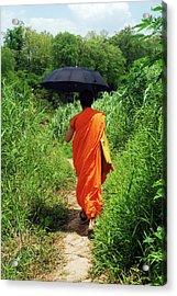 Monk Walking, Luang Prabang, Laos Acrylic Print by Thepurpledoor