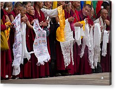 Acrylic Print featuring the photograph Monks Wait For The Dalai Lama by Don Schwartz