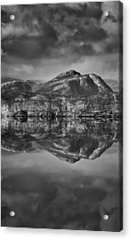 Monochrome Mountain Reflection Acrylic Print