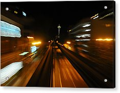 Monorail By Night Acrylic Print by George Crawford