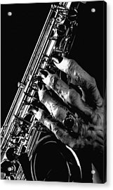 Monster Hand Saxophone Acrylic Print by M K  Miller