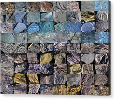 Montage Blue Beach Fossil Specimens Acrylic Print by William OBrien