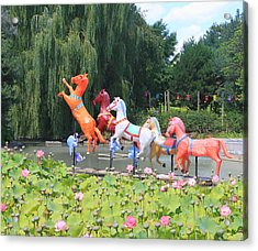 Montreal Botanical Gardens - Chinese Horses Acrylic Print