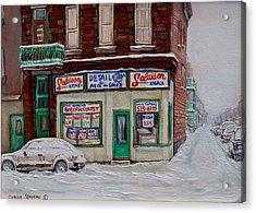 Montreal Corner Market Winter Scene Acrylic Print by Carole Spandau