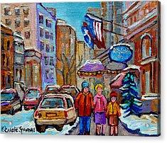 Montreal Street Scenes In Winter Acrylic Print by Carole Spandau