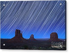 Monument Valley Star Trails 1 Acrylic Print by Jane Rix