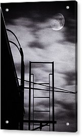 Moon Over Brooklyn Rooftop Acrylic Print by Gary Heller