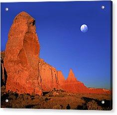 Moon Over Kodakchrome State Park Utah Acrylic Print by Daniel Chui