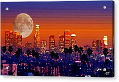 Moon Over Los Angeles Acrylic Print by Steve Huang