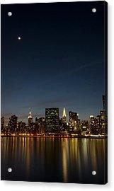 Moon Over Manhattan Acrylic Print by Photographs by Vitaliy Piltser