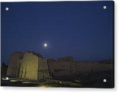 Moon Over Medinet Habu, The Temple Acrylic Print by Kenneth Garrett