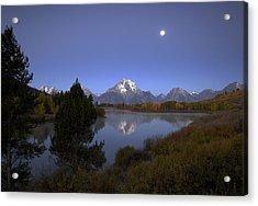 Moon Over Oxbow Bend The  Grand Tetons Acrylic Print