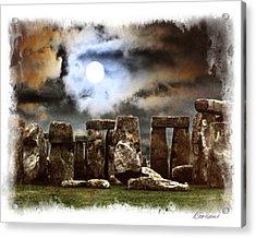 Moon Over Stonehenge Acrylic Print