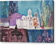 Moon Over The Mission Acrylic Print by Regina Ammerman