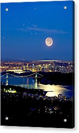 Moon Over Vancouver, Time-exposure Image Acrylic Print by David Nunuk