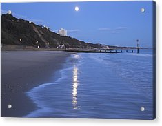 Moon Reflecting In The Sea, Bournemouth Beach, Dorset, England, Uk Acrylic Print by Peter Lewis