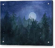 Moon Setting Over Forest Acrylic Print by Debbie Homewood