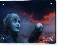 Acrylic Print featuring the digital art Moon Sister  Apple by Rosa Cobos