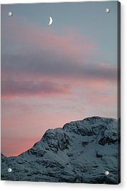 Moon, Upper Engadine, St. Moritz Acrylic Print by Remo Steuble - Switzerland
