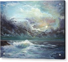 Acrylic Print featuring the painting Moonlight At The Ocean by Katalin Luczay