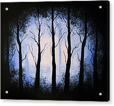 Acrylic Print featuring the painting Moonlight Forest by Edwin Alverio