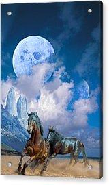 Moonlight Horses Acrylic Print by Pavlos Vlachos