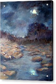 Acrylic Print featuring the painting Moonlight by Rosemarie Hakim