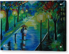 Acrylic Print featuring the painting Moonlight Stroll Series 1 by Leslie Allen