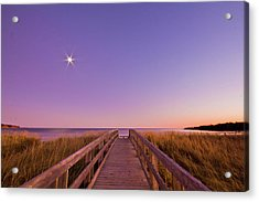 Moonlit Boardwalk At Beach Acrylic Print by Nancy Rose