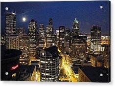 Moonlit Seattle Skyline Acrylic Print