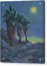 Moonrise And Three Palms Acrylic Print by Diane McClary